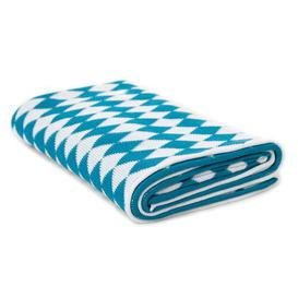 image-Alaraph Cotton Throw Ebern Designs Colour: White/Electric Blue