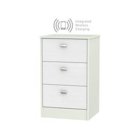 image-Dubai Rustic White and Kaschmir Matt 3 Drawer Locker Bedside Cabinet with Integrated Wireless Charging
