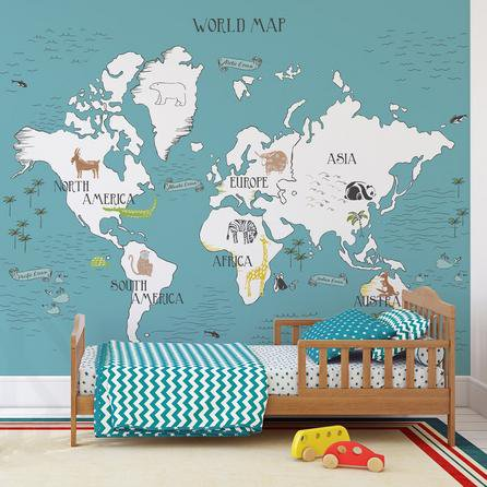 image-My World Map Mural Blue