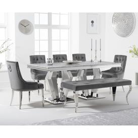 image-Viscount 180cm Marble Dining Table with Talia Velvet Chairs and Fitzrovia Bench - Grey, 2 Chairs