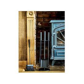 image-Ivyline 3 Piece Iron Fireplace Set, Black