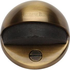 image-Floor Fixed Door Stop Heritage Brass Finish: Antique Brass