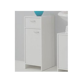 image-Madrid2 Bathroom Floor Cabinet In White With 1 Door And 1 Drawer