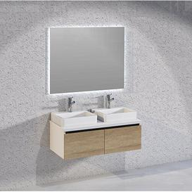 image-Rebello Bathroom 1000mm Wall Hung Double Vanity Unit Brayden Studio Vanity Base Colour: Light Oak