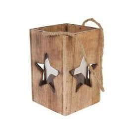 image-Libra Rustic Wooden Star Cut Out Lantern Large - Xmas-18
