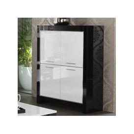 image-Lorenz Bar Unit In Black And White High Gloss With 4 Doors