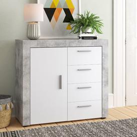 image-1 Door 4 Drawer Combi Chest Brayden Studio Colour: Concrete Light / White HGL