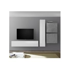 image-Infra Wall TV Unit And Storage In White Gloss And Cement Effect