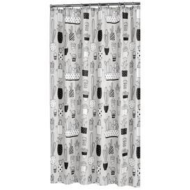 image-Natur Pur Cactus Shower Curtain 180X200 Cm PEVA Grey