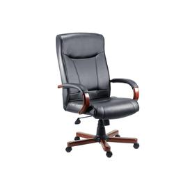 image-Knightsbridge Executive Chair Mahogany/Black, Black