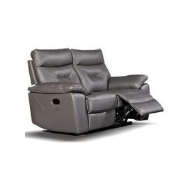 image-Tiana Contemporary Recliner 2 Seater Sofa In Grey Faux Leather