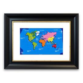 image-'World Map for Kids' Framed Graphic Art East Urban Home Size: 93 cm H x 70 cm W, Frame Options: Matte Black