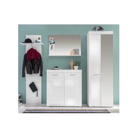 image-Amanda Hallway Furniture Set In White Gloss With Wardrobe