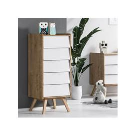 image-Vox Vintage Tall Chest of Drawers in a Choice of Oak or 5 Pastel Colours - Oak