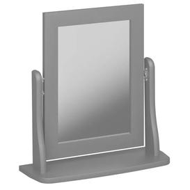 image-Baroque Dressing Table Mirror In Grey Wooden Frame