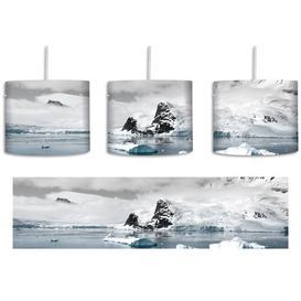 image-Winter Landscape 1-Light Drum Pendant East Urban Home Shade Colour: Grey/Blue