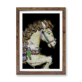 image-'Vintage Rocking Horse in Abstract' - Picture Frame Painting Print on Paper East Urban Home Size: 63cm H x 45cm W x 2cm D, Frame Option: Walnut