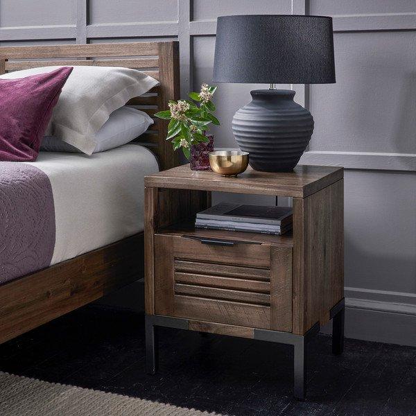 image-Solid Acacia and Metal Bedside Tables - Bedside Table - Detroit Range - Oak Furnitureland