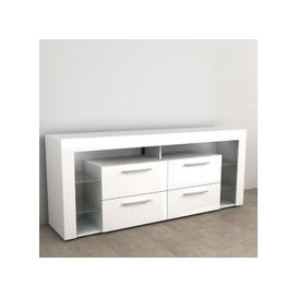 image-Borealis Hi-Fi Lowboard TV Unit In High Gloss White