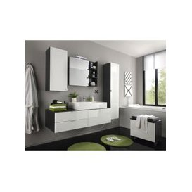 image-Beach Bathroom Set In Grey With White Gloss Fronts And Lighting