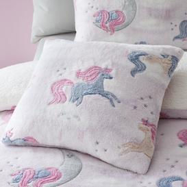 image-Catherine Lansfield Pink Unicorn Dreams Glow In The Dark Cushion Light Pink