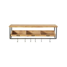 image-Black Metal and Fir Shelving Unit with Coat Hooks