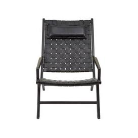 image-Formosa Teak Wood Woven Chair With Black Leather