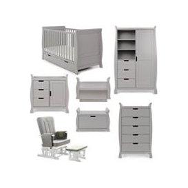 image-Obaby Stamford Sleigh Cot Bed 7 Piece Nursery Furniture Set - Warm Grey
