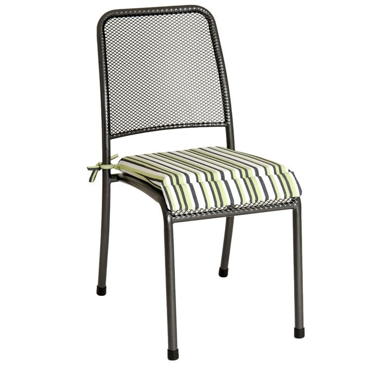 image-Alexander Rose Portofino Garden Green Stripe Cushion For Stacking Chair