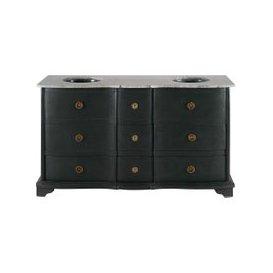 image-Stone and Black Solid Mango Wood Black Double Sink Vanity Unit Eugenie