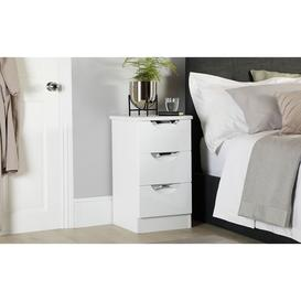 image-Camden White and White High Gloss 3 Drawer Bedside Table