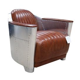 image-Aviator Aviation Vintage Tan Leather Rocket Tub Chair