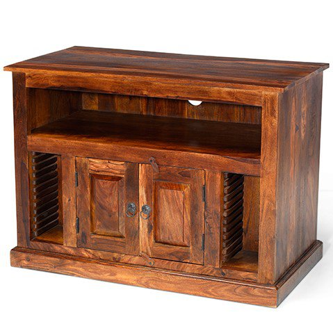 image-Kanpur Indian Sheesham Chunky TV/VCR/DVD Cabinet