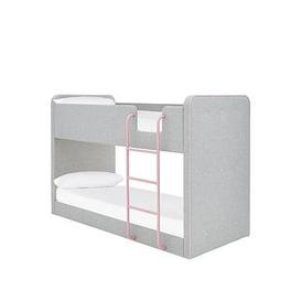 image-New Charlie Fabric Bunk Bed With Mattress Options (Buy And Save!) - Grey/Pink - Bed Frame With Premium Mattress