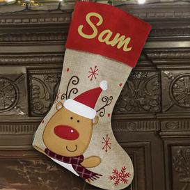 image-Reindeer Personalised Christmas Stocking East Urban Home Colour: Gold
