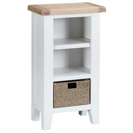 image-Tenby White Painted Furniture Small Narrow Bookcase with Basket - PRE ORDER