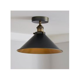 image-Logan 1 Light Pendant Black Industrial Semi-Flush Ceiling Fitting Brass Nickel