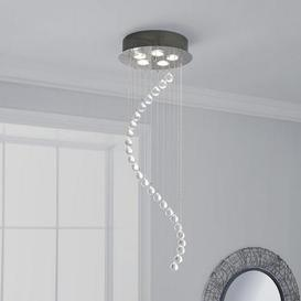 image-Marconia 5 Light Glass Droplet Cluster Flush Ceiling Fitting Silver