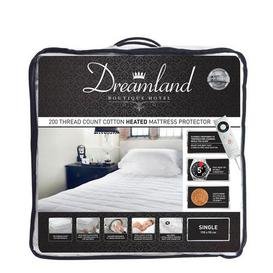 image-Dreamland 200 Thread Count Heated Mattress Protector White