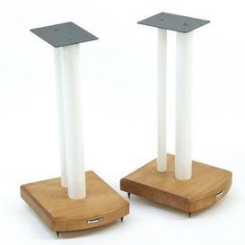 image-50cm Fixed Height Speaker Stand Symple Stuff Finish: White/Medium Bamboo