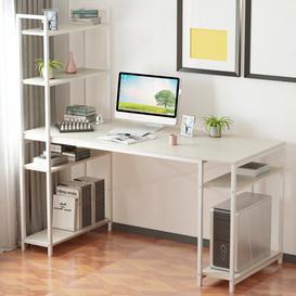 image-Nahabed Computer Desk Mercury Row Top Colour: White, Size: 140cm H x 140cmW x 60cm D, Frame Colour: White