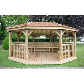image-5.3m x 3.8m Wooden Gazebo with Cedar Roof and Benches Sol 72 Outdoor