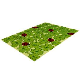 image-Kids Ladybug Wool Green Rug Bakero Rug Size: Rectangle 170 x 240cm