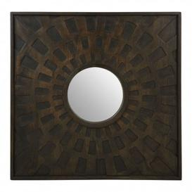 image-Seri Square Wall Bedroom Mirror In Weathered Brown Frame