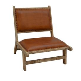 image-Brushed Buffalo Leather and Wood Occasional Chair