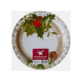 image-Large Christmas Paper Plates 10 Pack - Holly Design