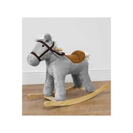image-Bambino Grey Velvet Rocking Horse