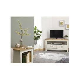 image-Valencia Wooden Corner TV Stand In Cream With 2 Drawers