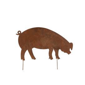 image-Krum Large Flat Pig Decoration Garden Stake August Grove Size: 45cm H x 58cm W x 0.5cm D