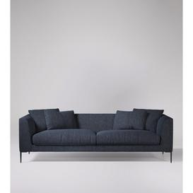 image-Swoon Alena Three-Seater Sofa in Navy House Weave With Black Feet